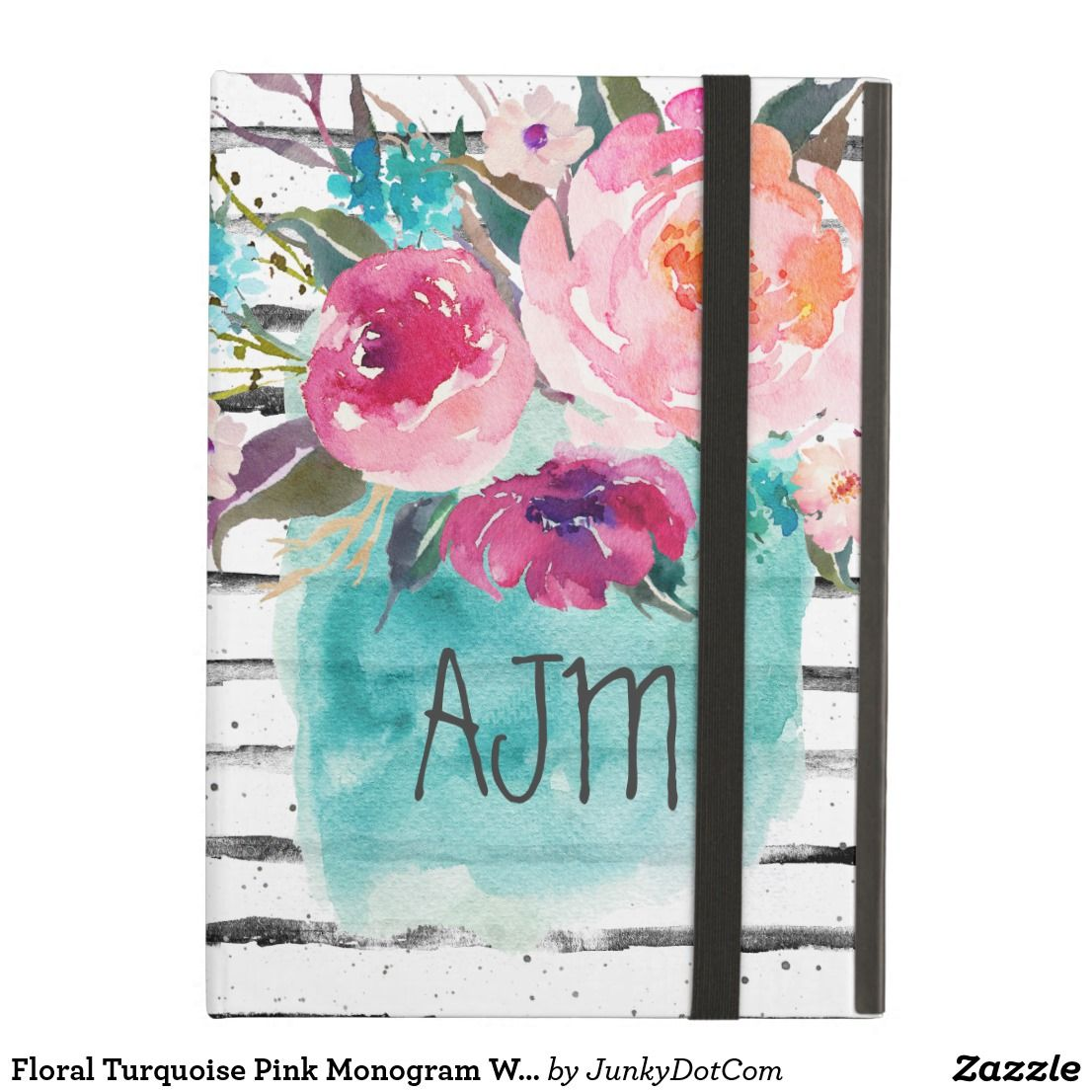 Floral Turquoise Pink Monogram Watercolor Bouquet Cover For iPad Air April 28 2017 #spring #junkydotcom