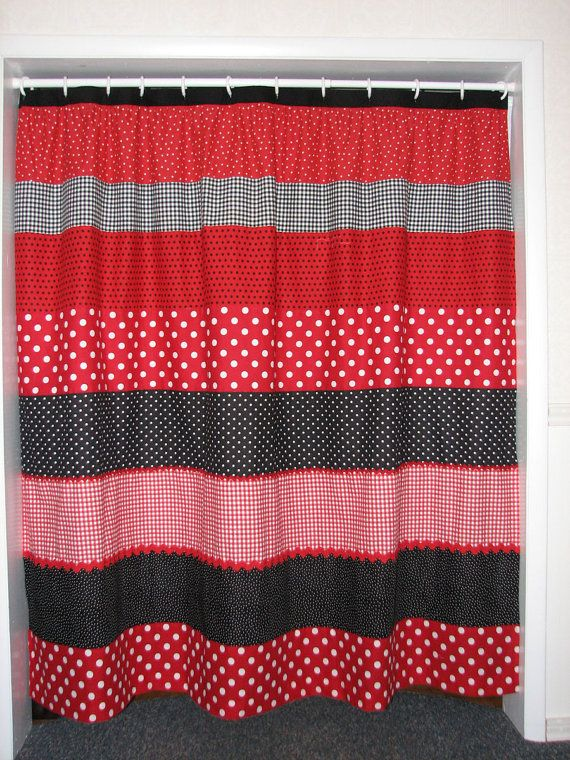 Red and Black Polka Dot Shower Curtain SALE was 65 | Curtain sale ...