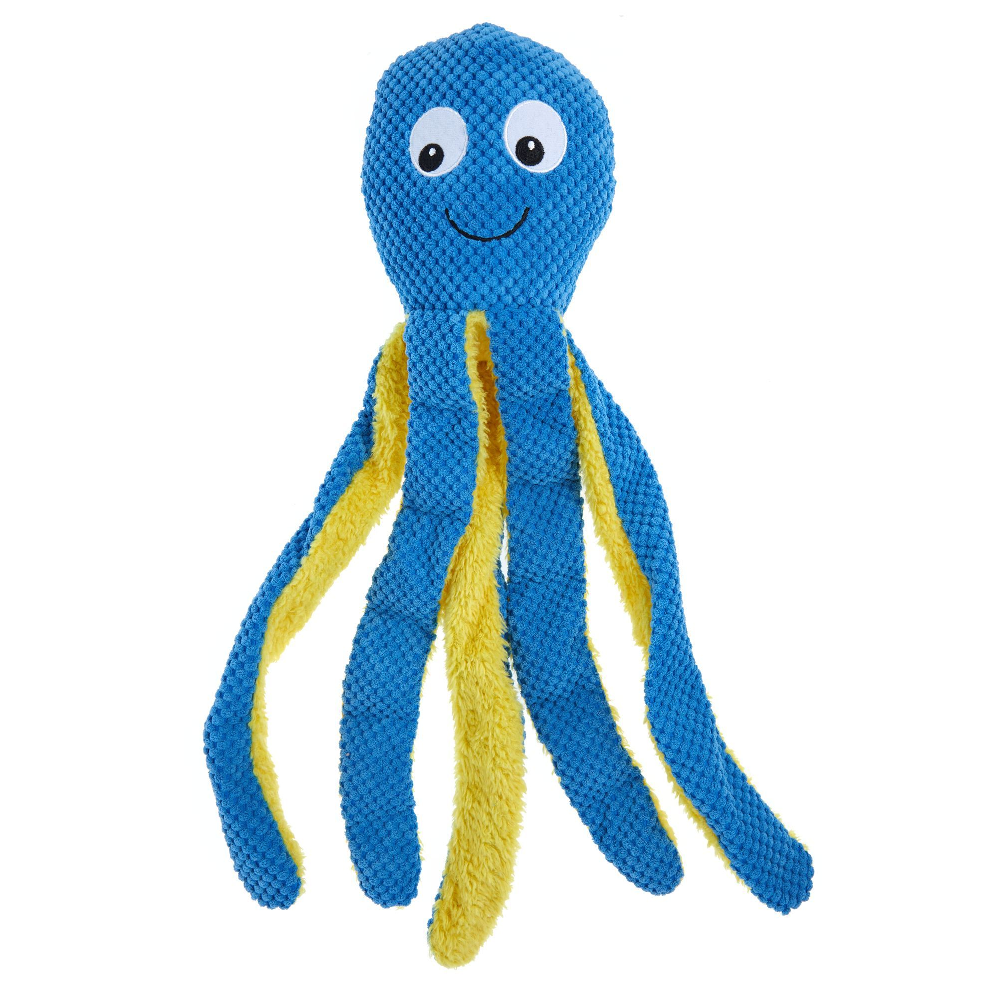 Top Paw Octopus Dog Toy Plush Squeaker Black Blue White Toy