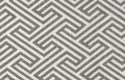 Geo Maze, Ash - geometric key / maze print in ash grey and white. 100% linen.