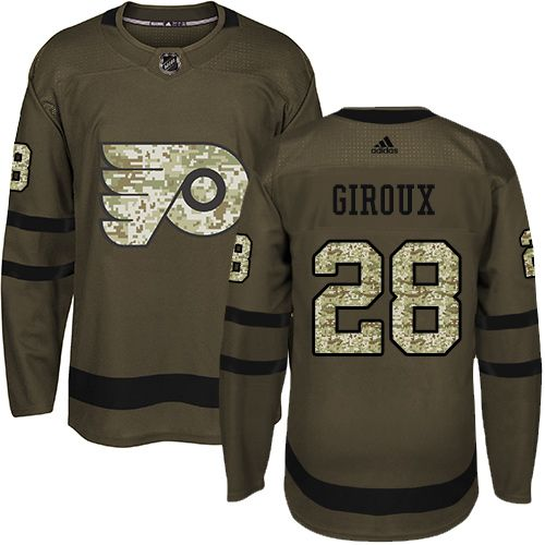 Adidas Flyers  28 Claude Giroux Green Salute to Service Stitched Youth NHL  Jersey d7d7e8a88