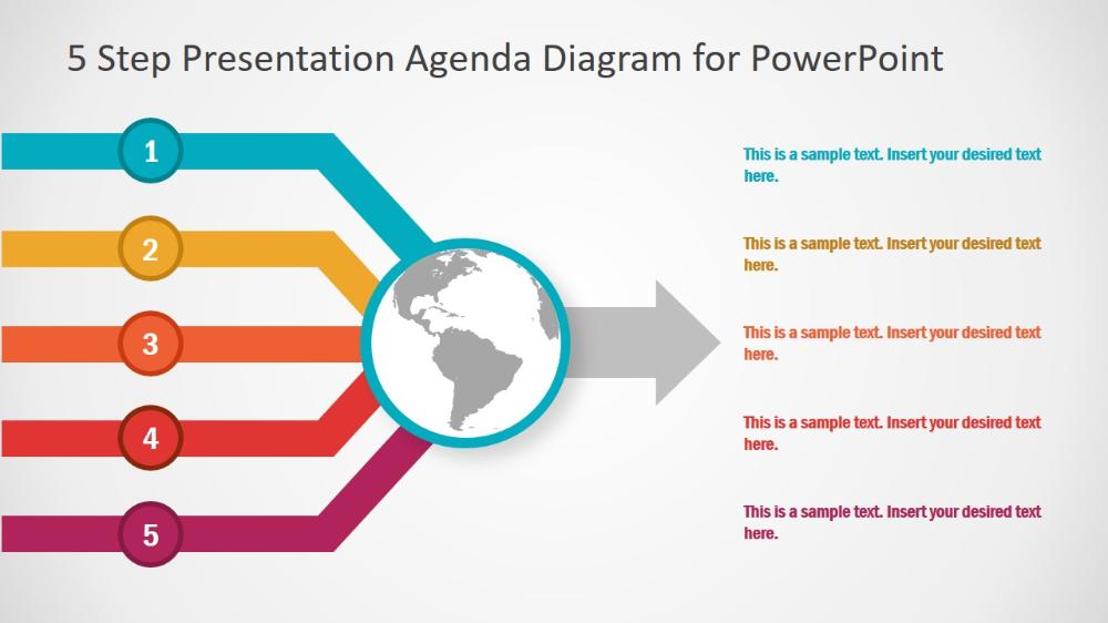 5 Step Presentation Agenda Diagram For Powerpoint Slidemodel Powerpoint Presentation World Map Silhouette