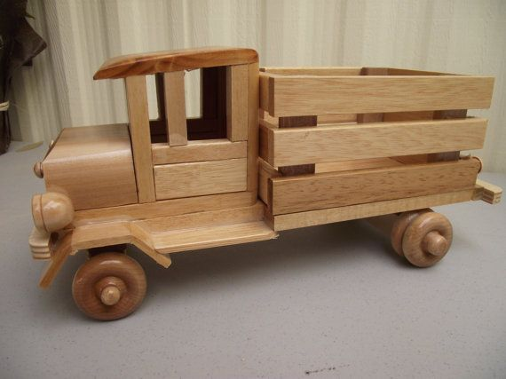 Wooden Toy Cars And Trucks : Reclaimed sturdy wood truck eco friendly wooden toy car