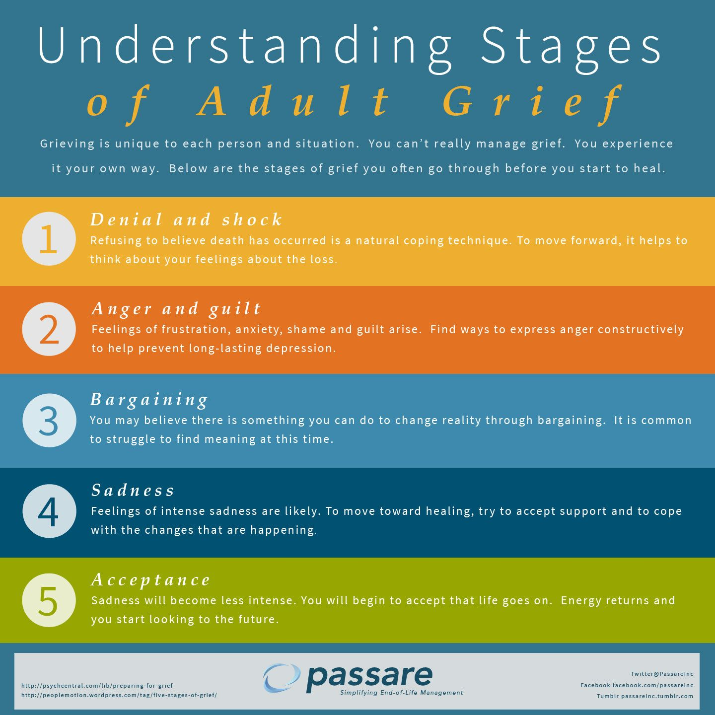 Understanding Stages Of Adult Grief Infographic