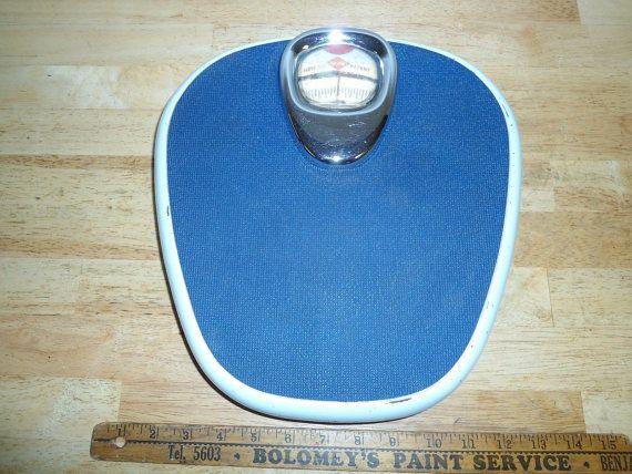 Vintage 1950 S German Krups Bathroom Scale Blue By Superhappyshop