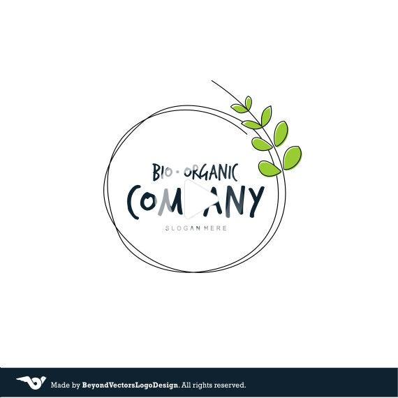 Photo of Green Leafs Wreath Premade Logo Design Organic logo design Bio Eco Company Professional business