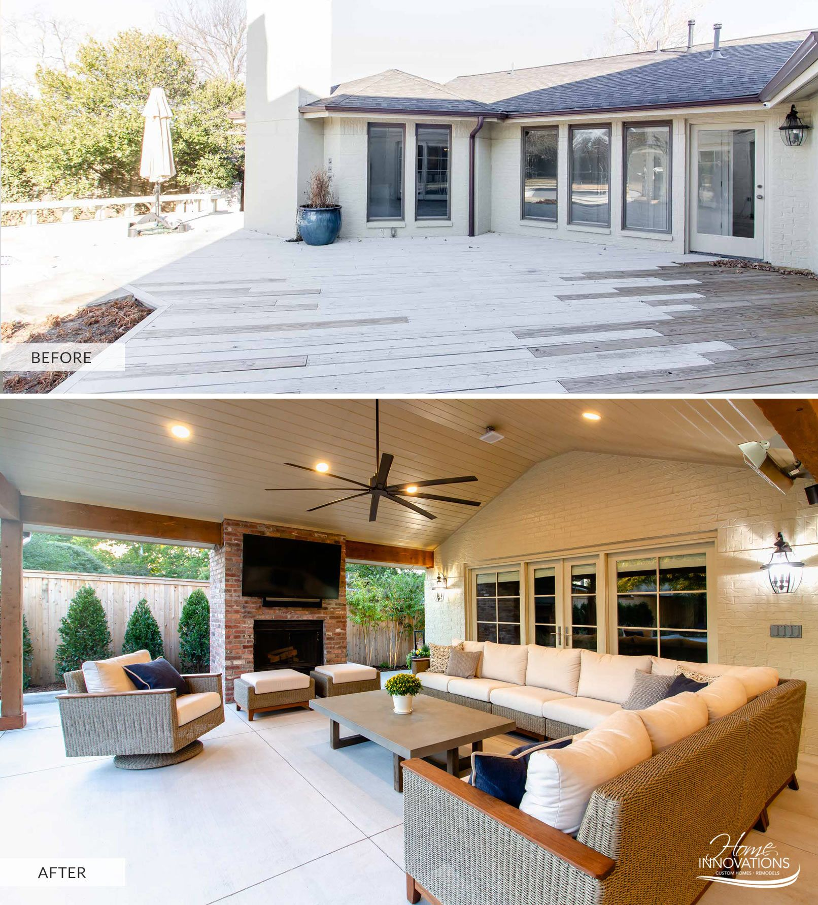 Before And After With Outdoor Living With Fireplace And Tv Patio