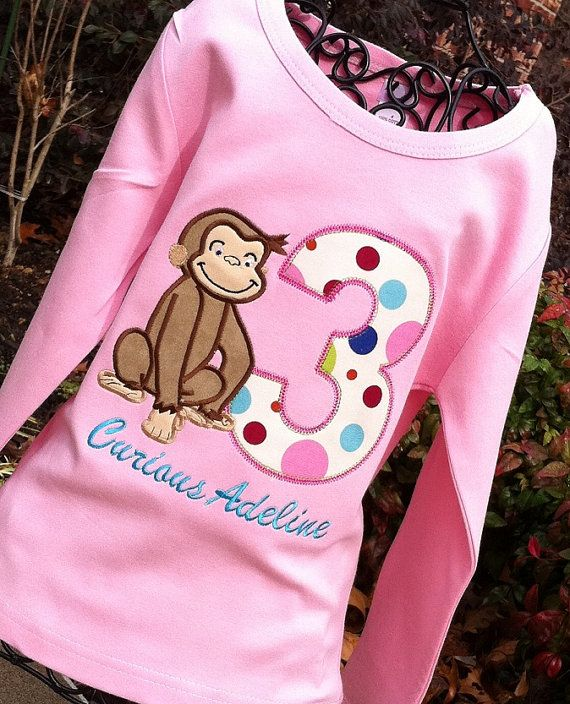 Girls  Curious George with Age on LONG SLEEVES by lilshabebe, $24.25