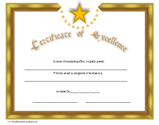 A Gold Certificate Of Excellence With Distinctive Stars