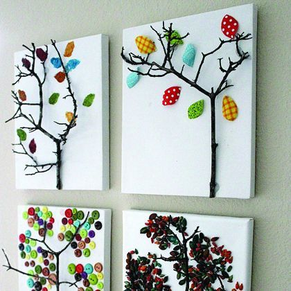 Autumn Tree Art - I really like this idea for fallen twigs made in to art for the kids' walls