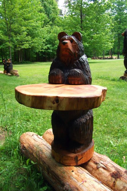 Chainsaw carved table bear by carvnstitch on etsy