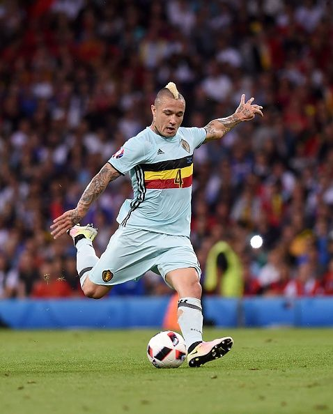 4595830c907  EURO2016 Belgium s midfielder Radja Nainggolan attempts a shot during the  Euro 2016 round of 16 football match between Hungary and Belgium at the  Stadium.