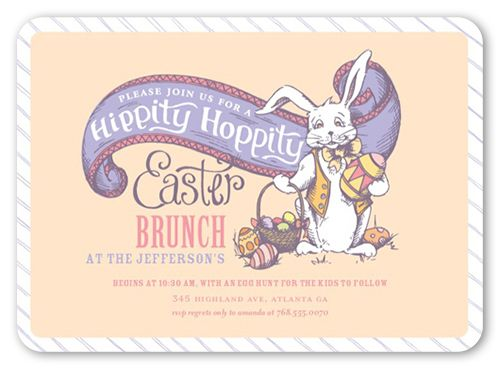 Hippity hoppity easter invitation rounded corners beige easter hippity hoppity 5x7 invitation card easter invitations shutterfly stopboris Images