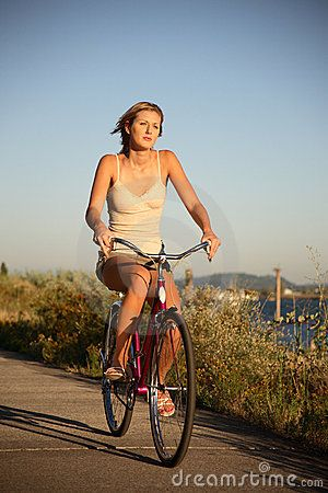 Young Woman Riding Bike Bike Ride Bikes Girls Women