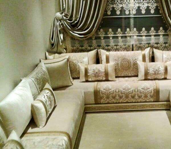 Un salon marocain doré qui convient a tout style de pièces | Salons ...