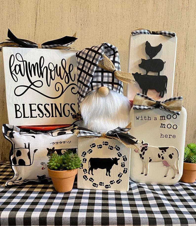 Cow Decor Farmhouse Blessings Gnome Decor Tiered Tray Etsy Cow Decor Tiered Tray Decor Cow Kitchen Decor