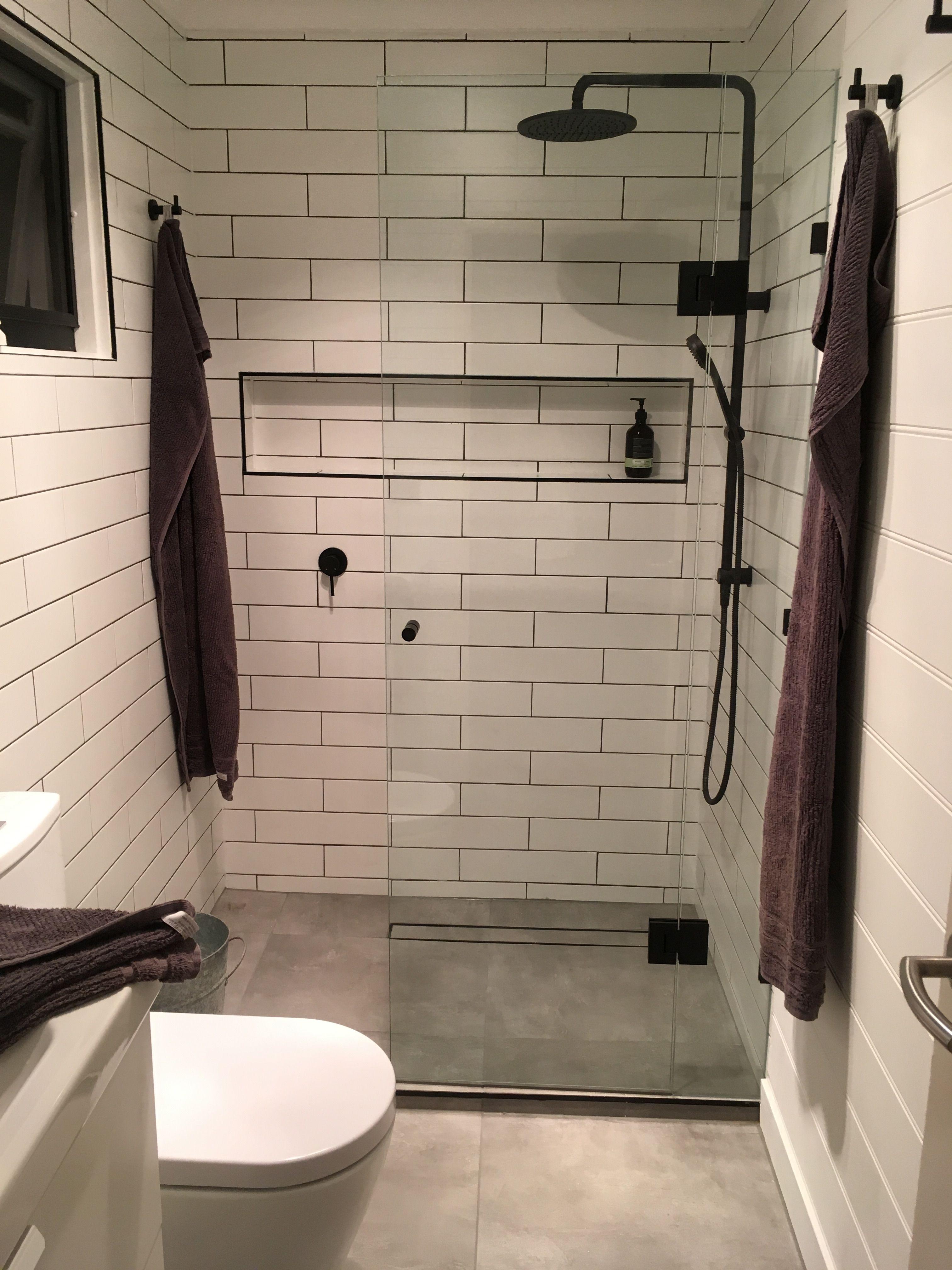 Small Bathroom Ensuite Reno Black And White Subway Tile Small Bathroom Renos Bathroom Renos Small Bathroom