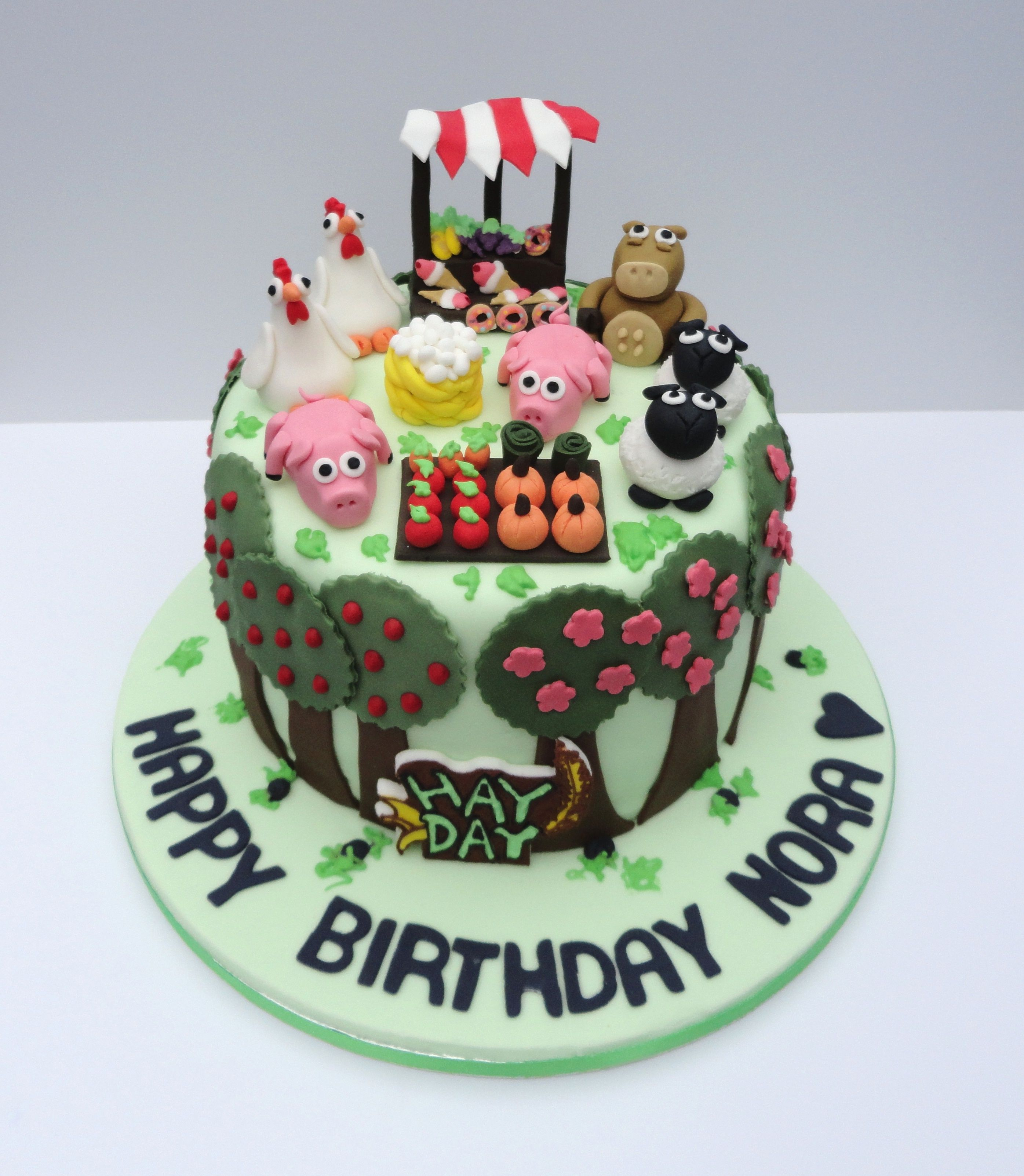 Hay Day game cake, with farm animal and garden patch fondant