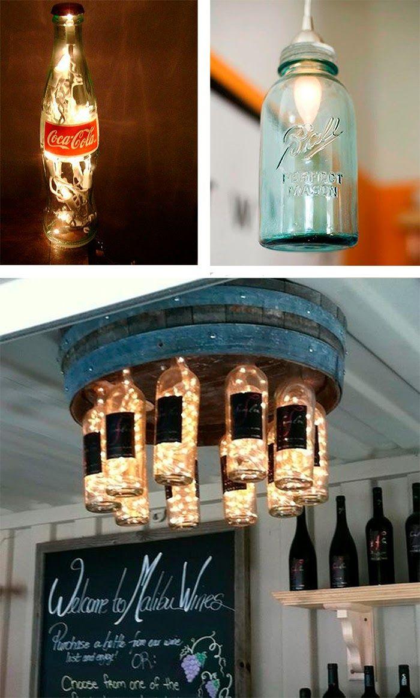 Como Hacer Lamparas Con Botellas De Vidrio Recicladas Pin En Lighting