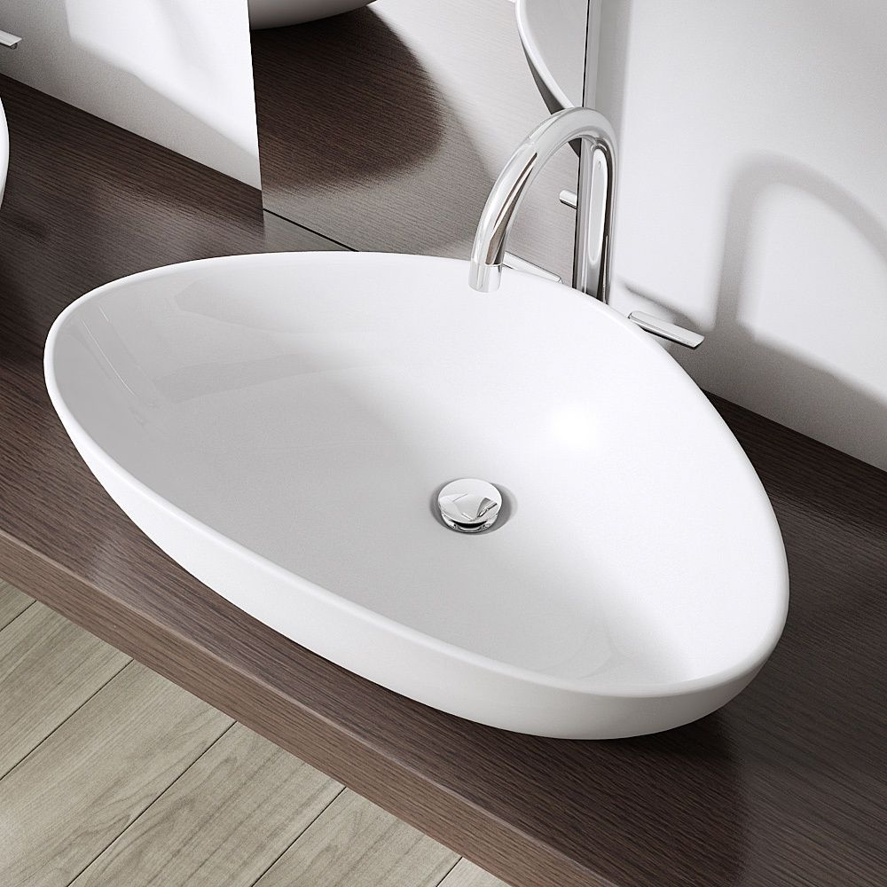 Durovin Bathroom Curved Oval Ceramic Countertop Wash Basin