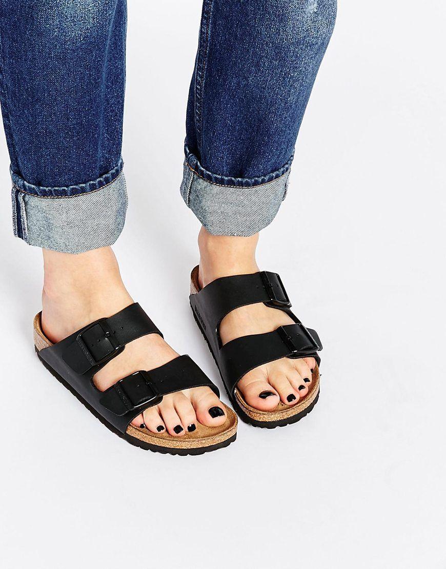 Womens sandals narrow - Birkenstock Arizona Black Birko Flor Narrow Fit Flat Sandals