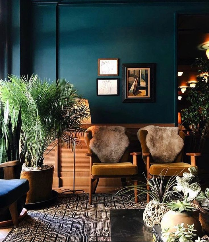 Dark Walls And Boho Touches Teal Living Rooms Trending Decor Home Decor