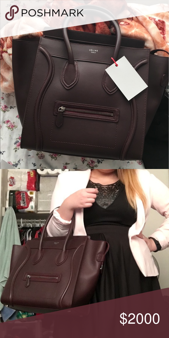 4b9c18d36 Handle · Arm · Celine Mini Luggage Burgundy Excellent condition. Gorgeous  burgundy color in smooth calfskin leather. Bought