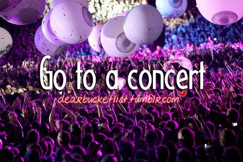 Believe it or not, I have yet to go to a concert. . .  someday