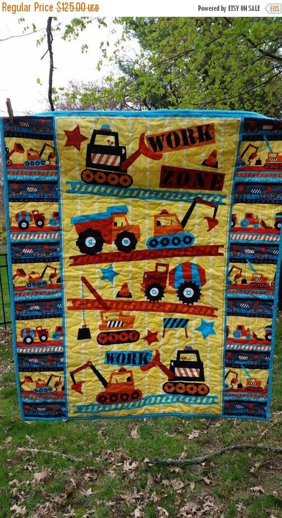 Handmade cotton crib sheet//Blue Construction Trucks//Neutral