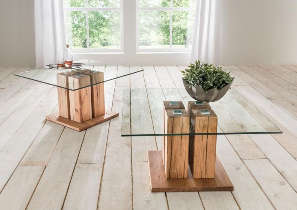 Couchtisch Holz - Glas Wildeiche Oder Kernbuche Massiv, Modell