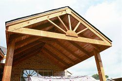 A Wood Patio Cover With Gabled Roof Will Protect Your Patio From Rain, Sun  And