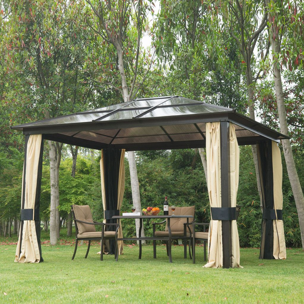 Outdoor Large Hardtop Roof Gazebo Aluminum Metal Patio Canopy With Mesh  Walls