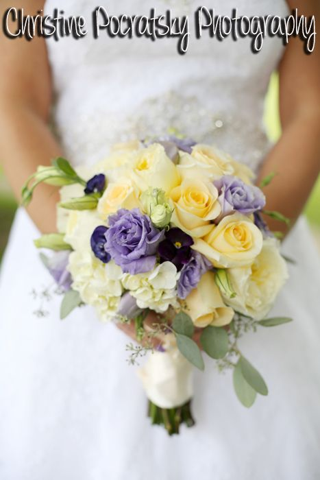 Bridal Bouquet With Yellow Purple And White Roses Wred In Cream Ribbon