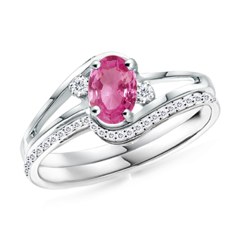 Angara Split Shank Pink Tourmaline Engagement Ring with Wedding Band