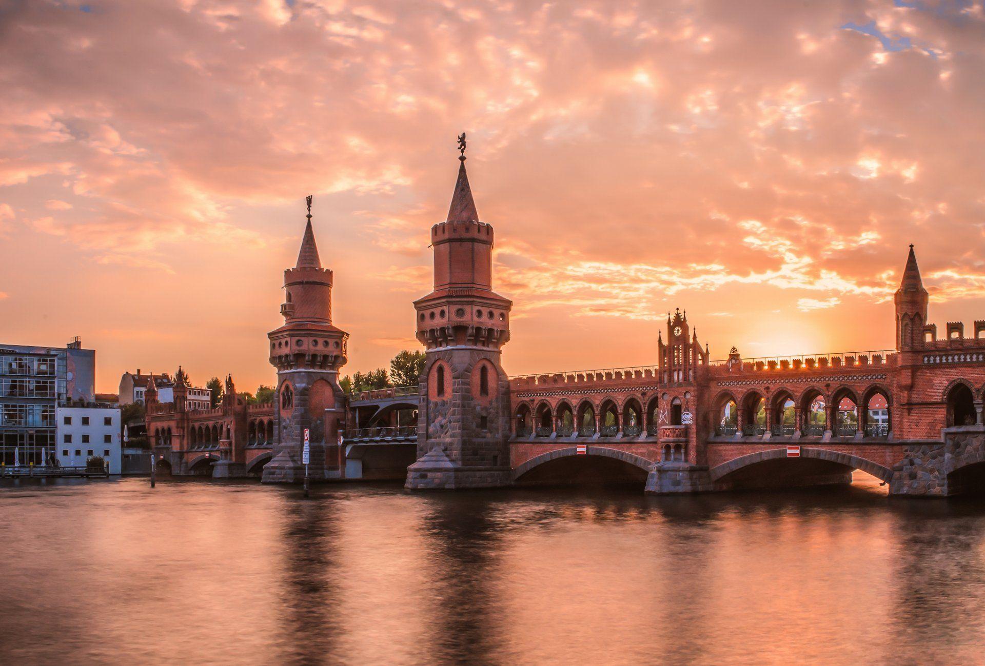 Berlin Oberbaumbrucke River Bridge Night Sunset Hd Wallpaper