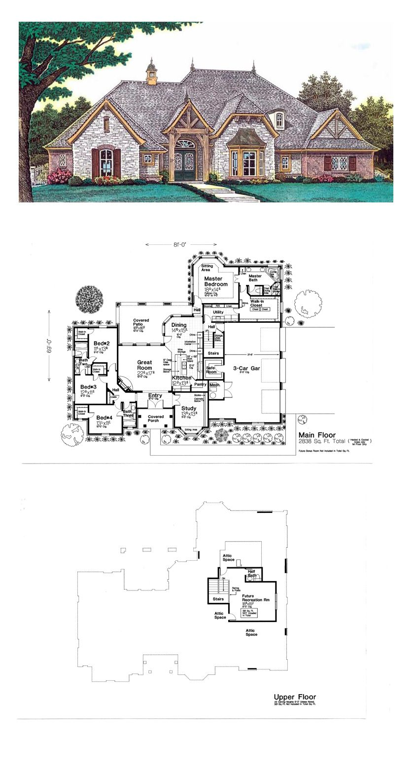 European house plan 92233 total living area 2838 sq ft for Piani di casa ranch 24x36