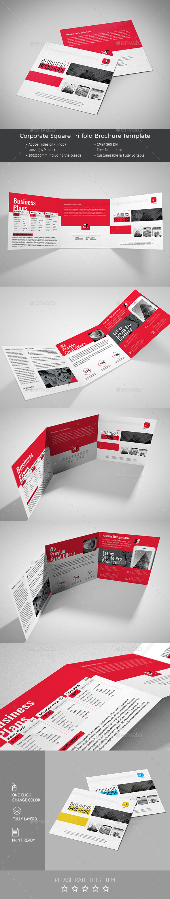 Corporate Square Trifold Brochure Template PSD Design Download - Tri fold brochure template psd