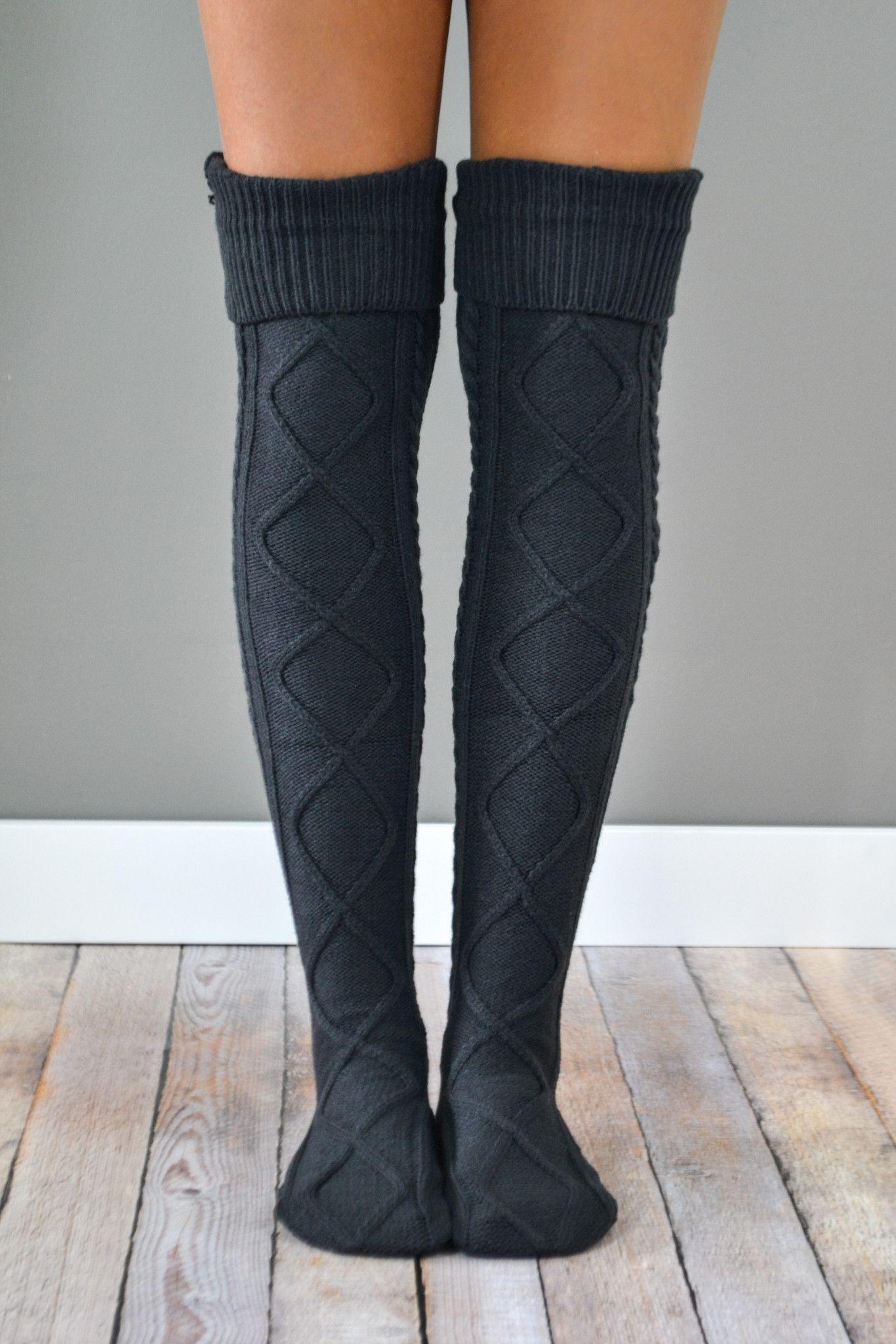 2c6533c199 Charcoal Thick Cable Knit Boot Socks Hosszú Szárú Szűk Csizma, Ősz, Zoknik,  Outfitek