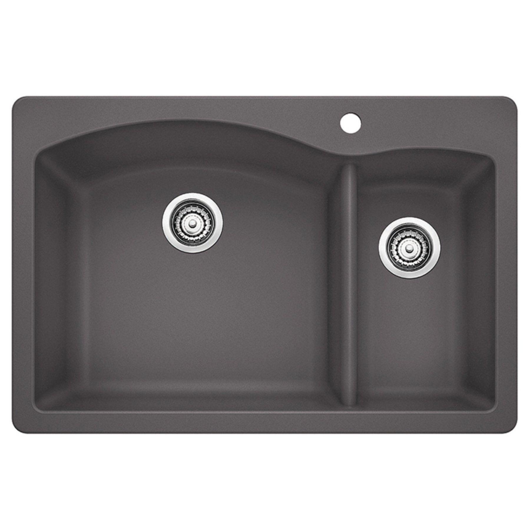 Blanco Diamond 33 in. Double Basin Drop In / Undermount Kitchen Sink - Cinder - 441464