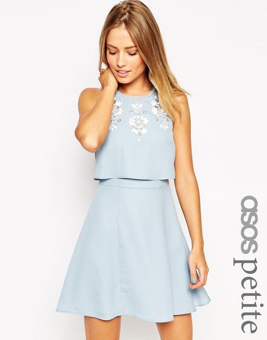 Image 1 of ASOS PETITE Embellished Crop Top Skater Dress | wish ...