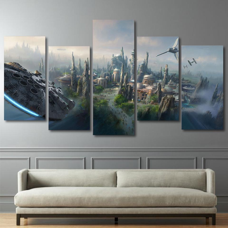 Hd Printed Star Wars Millennium Falcon Large 5 Panel Canvas Wall