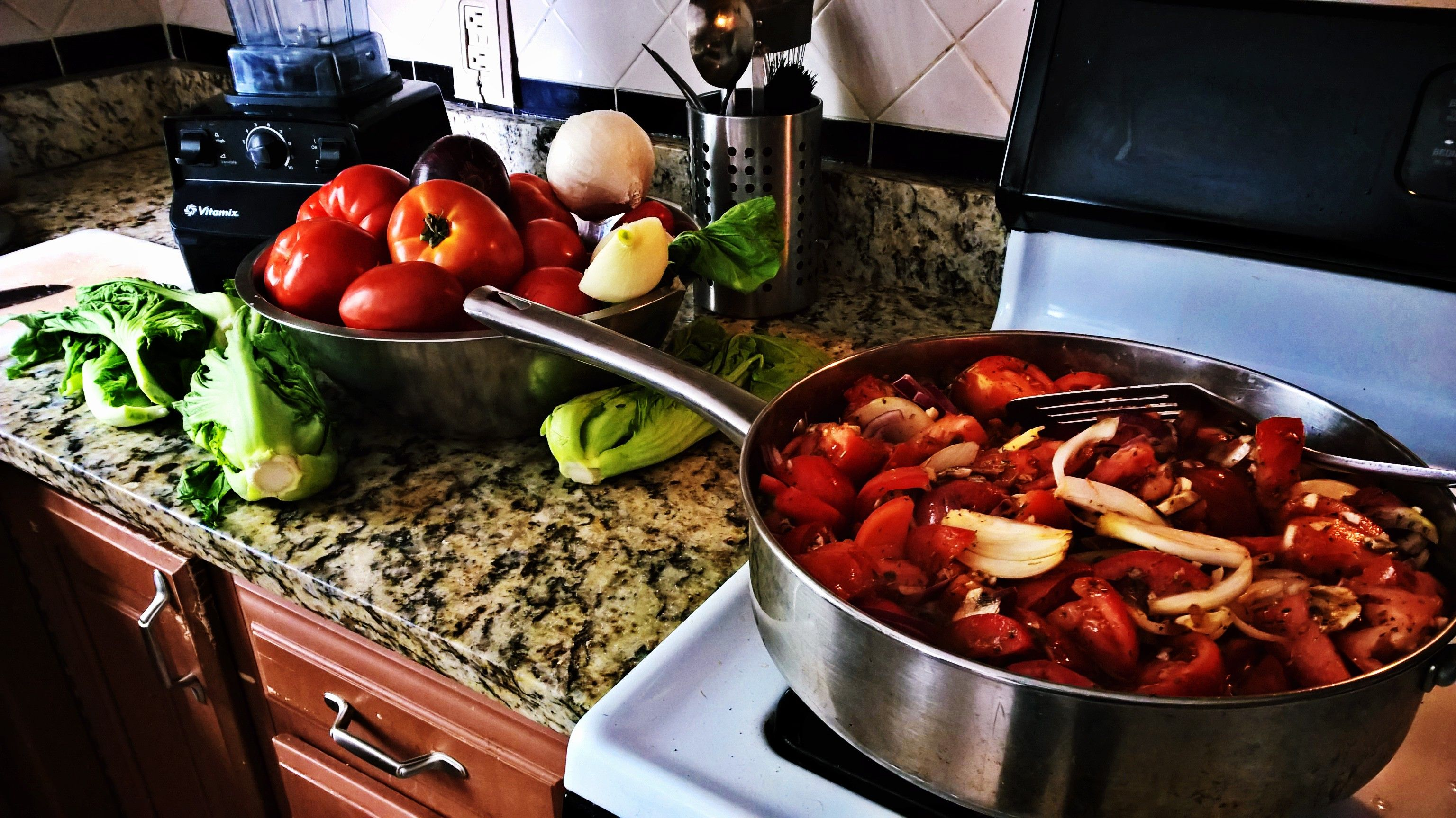 Homemade spaghetti sauce with red peppers and tomatoes from the garden