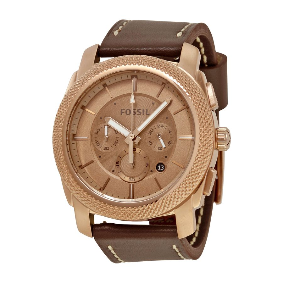Fossil Machine Men's Rose Gold Analog watch FS5075 ewatchesusa.com