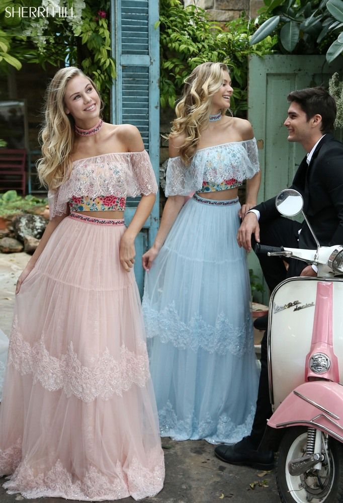 961eecbeb940 Sherri Hill 51022 Bohemian inspired two-piece with a lace over the shoulder  ruffle