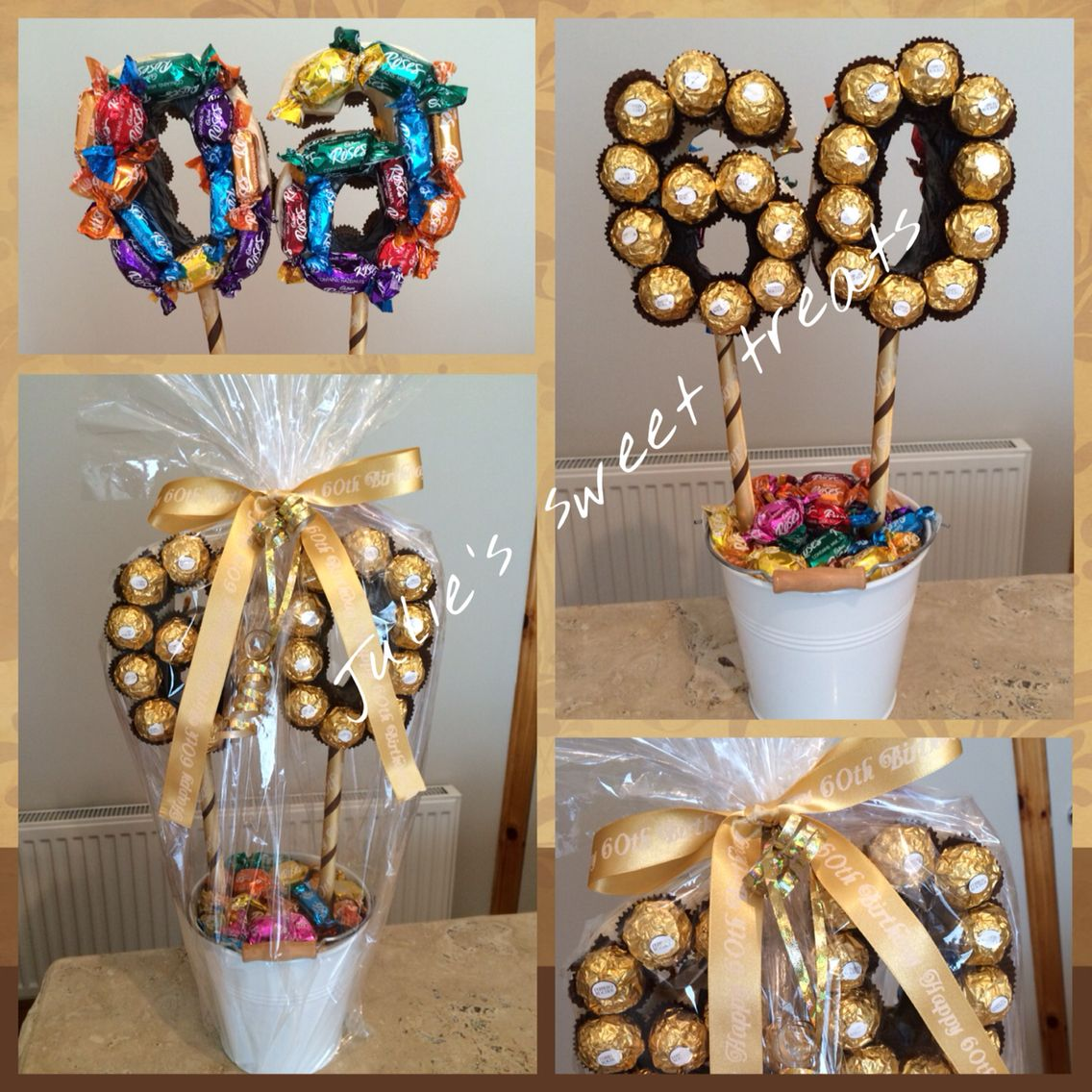 Birthday Tree Created Using A Mix Of Roses Ferrero Rocher