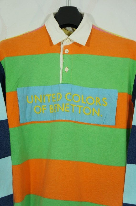 8000d707a51 Vintage 90s United Colors Of Benetton Multi Color rugby shirt Small p wing  bear ski beach snow k swi