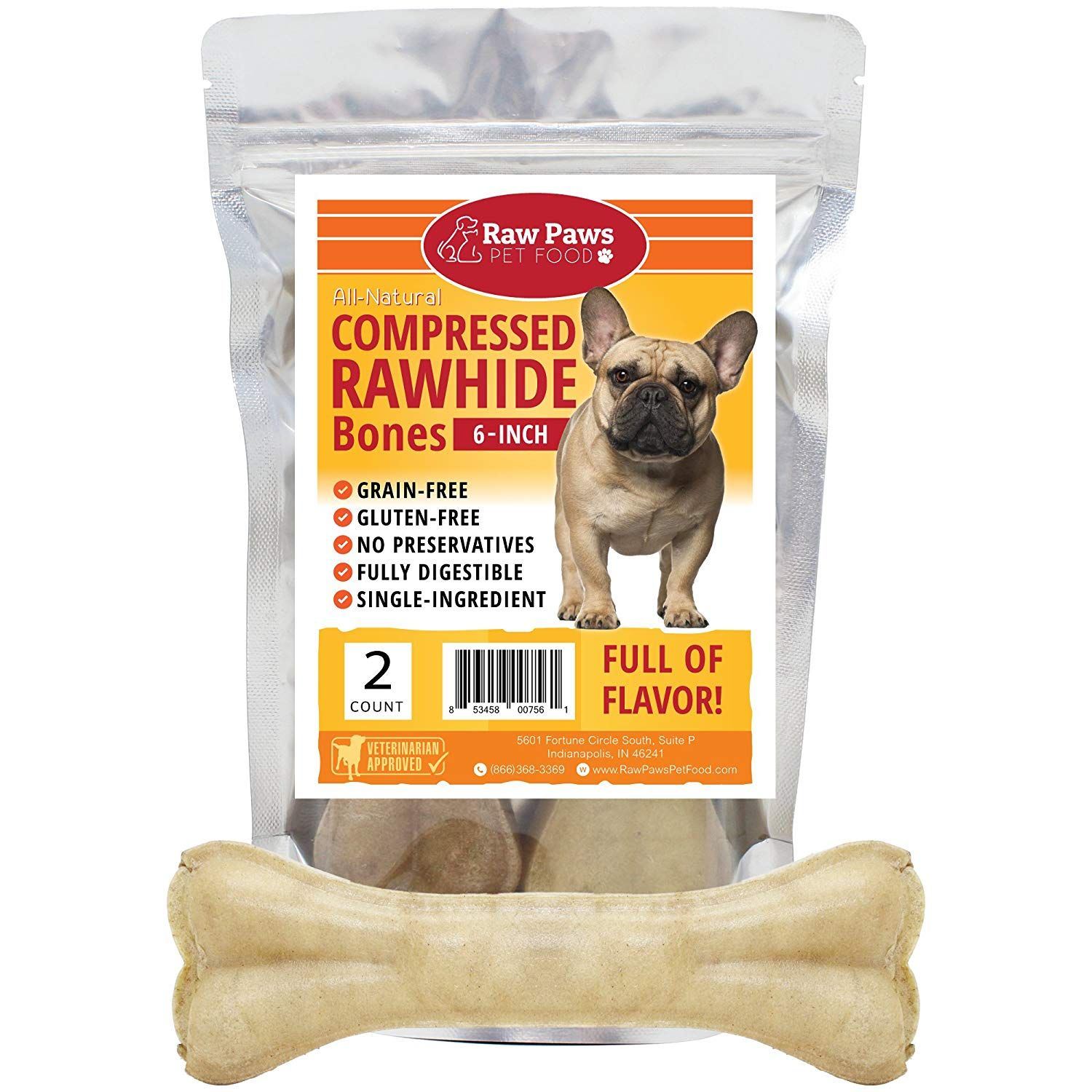 Raw Paws Pet Premium 6 Inch Compressed Rawhide Bones For Dogs
