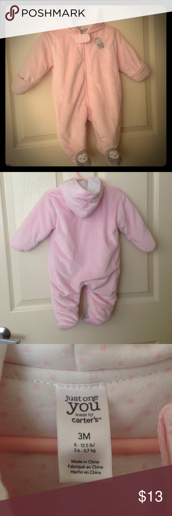 Carter's bodysuit Soft pink comfy bodysuit from Carter's, perfect for the upcoming cold months, zipper front, has covers over the hands to keep warm,  and also has a hoodie. Only been worn once, no stains or rips. Carter's One Pieces Bodysuits