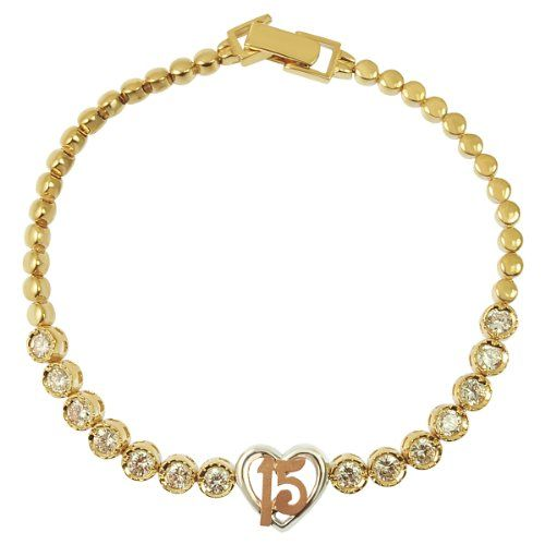 14k Tricolor Gold 15 Anos Quinceanera Heart Bracelet With Lab Created Gems 10mm Wide
