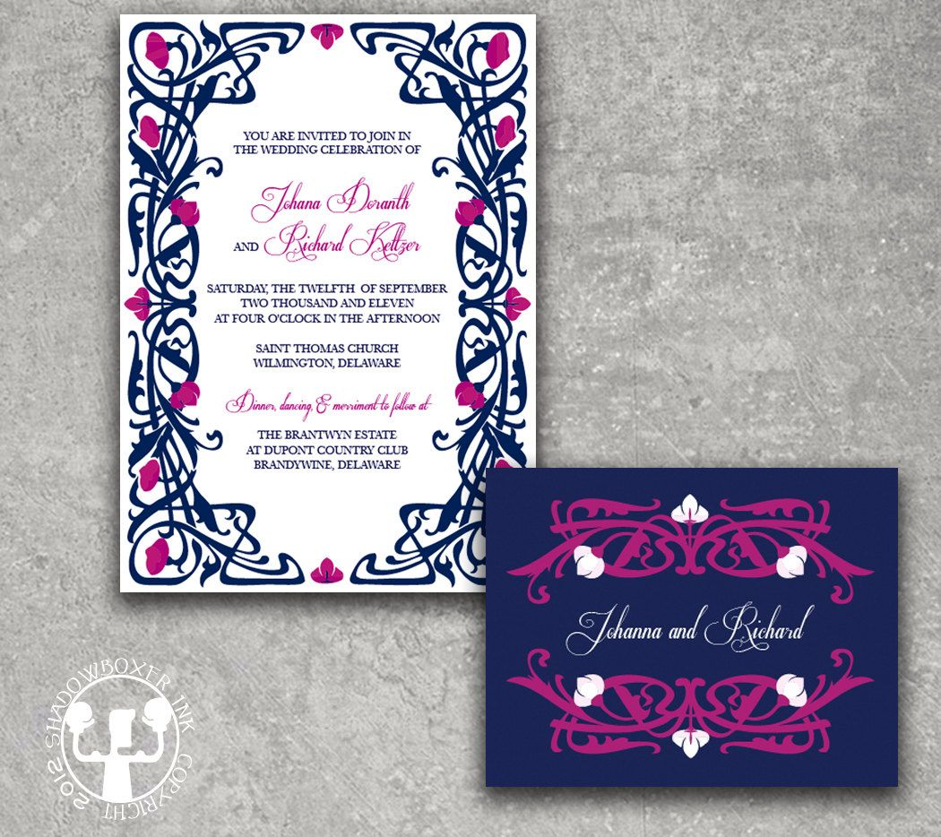 Deco Garden Navy Fuschia Wedding Invitation 3 75 Via Etsy